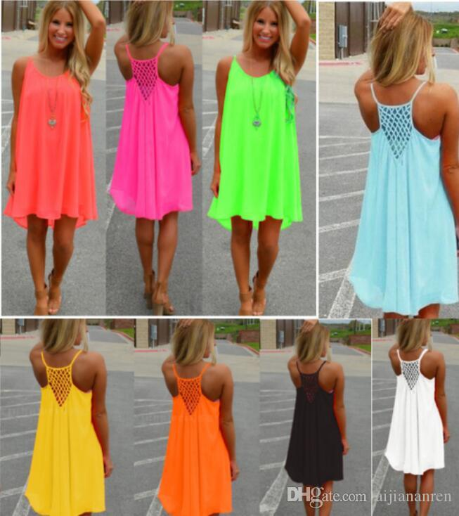 2a9cc323e1 New Fashion Sexy Casual Dresses Women Summer Sleeveless Evening Party Beach  Dress Short Chiffon Mini Dress BOHO Womens Clothing Apparel Club Dress Prom  ...
