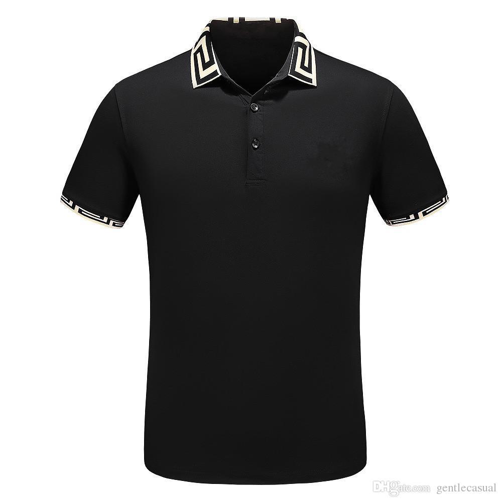 a8d1e8e9c2 Compre Diseño De Marca Para Hombre Polos Estampado De Algodón Mezcla De  Solapa Camisetas Con Cuello De Manga Corta De Verano Polos Sueltos Hommes  Casual ...