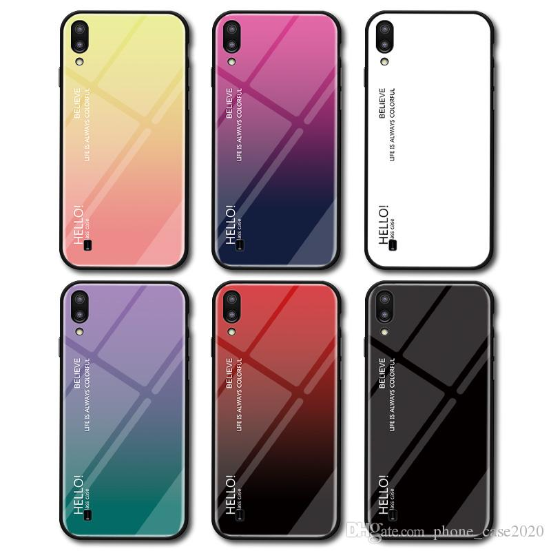 Slim Gradient Color Tempered Glass Case For Samsung Galaxy M10 M20 S10 S10 Plus S10e Note 9 Note8 S9 S9+ S8 S7 Edge