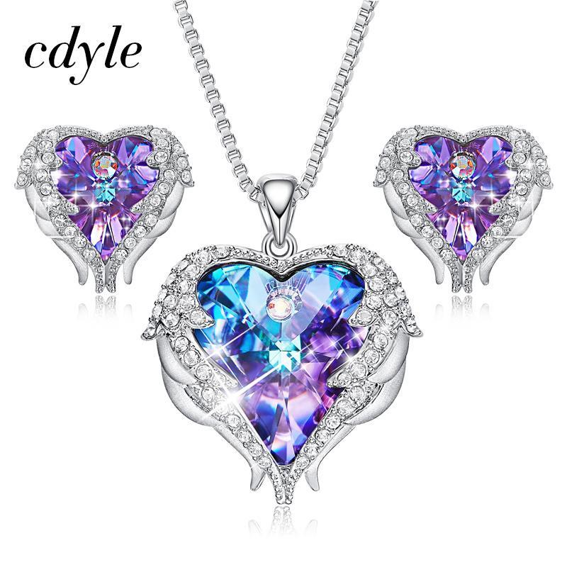 296de7116a28 Compre Cristales Cdyle De Swarovski Alas De Ángel Collares Pendientes  Púrpura Azul Cristal Corazón Colgante Conjunto De Joyas Para El Día De La  Madre Regalo ...