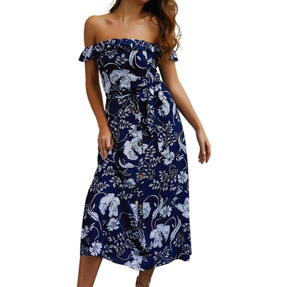 2019 new summer Women Fashion Sexy ladies Off Shoulder Beach Printed Mid-Calf Length Slash neck Dress ukienki damskie mujer #F7
