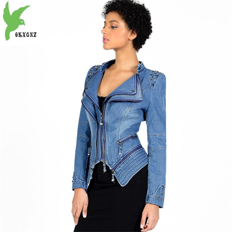 new style 5d8f2 5bfac Giacca corta donna 2018 primavera denim moto Giacca a vento Plus size 6XL  zipper top Diamanti Slim donna moda jeans cappotti