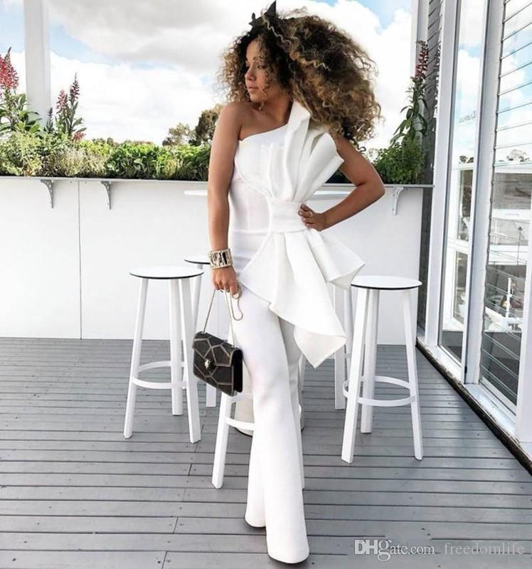 4824a1b03ddff Chic One Shoulder White Women Jumpsuit Prom Dresses With Big Bow Formal  Party Evening Gowns Custom Made Vintage Special Occasion Dress