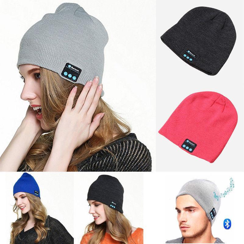 d3175c449 Wireless Bluetooth Headphones Music Hat Smart Caps Headset Earphone Pure  Winter Warm Beanie