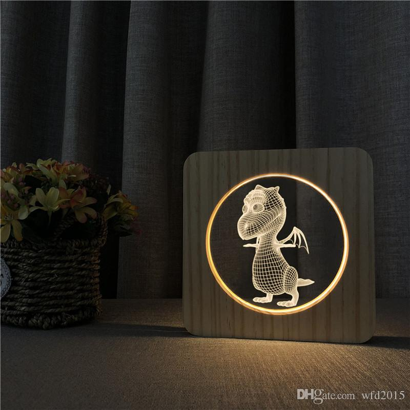 Sharelife Creative Wood + Acrylic Flying Dragon Warm White LED USB Night Light Lámpara de mesa Inicio Regalo de cumpleaños para niños 3609