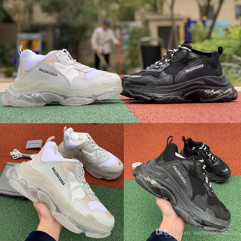 d9005eb36ee3dc 2019 2019 Triple S Clear Sole Trainers Black White Transparent Crystal  Bottom Old Men Women Designer Sneakers Sports Shoes Size 35 45 From  Supreme_shoes, ...