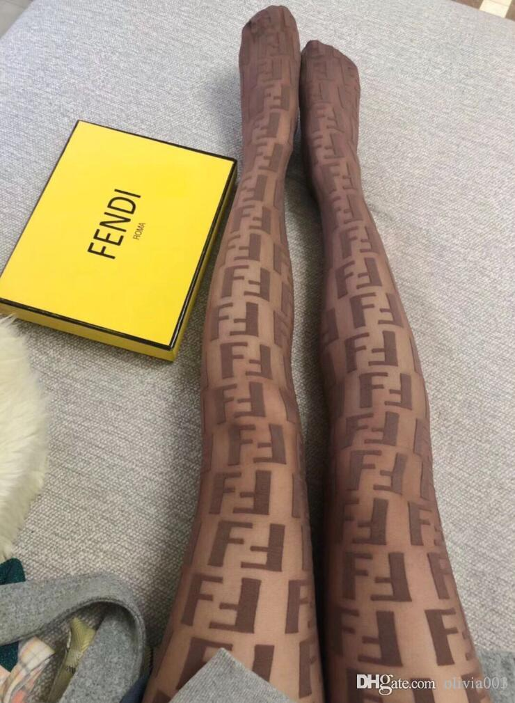 7bae424144d 2019 With Box Women Tights Black Nylon Pantyhose With All Over FF Motif  Sexy Thin Jacquard Romper Silk Stockings Female Summer Sexy Legging From  Olivia001