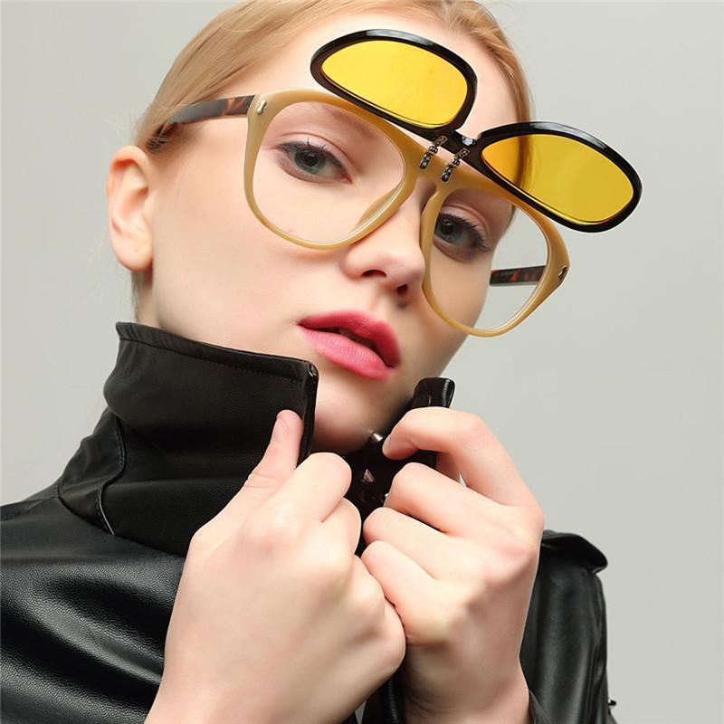 d42af66bad2e Fashion Retro Clip On Ladies Oval Sunglasses Shades Vintage Clear Sun  Glasses For Women Brand Designer Oversized Fashion Sunglass Womens  Sunglasses ...