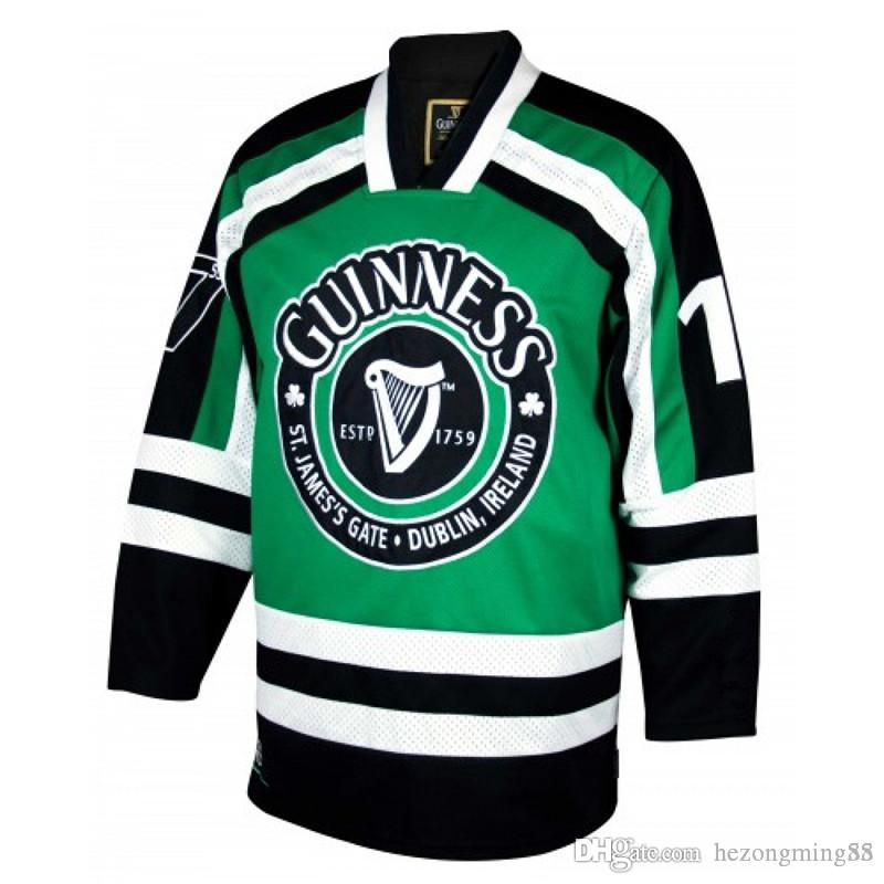 1e1fc352 Guinness St.James's Gate Durblin Ircland Men's RETRO Hockey Jersey  Embroidery Stitched Customize any number and name