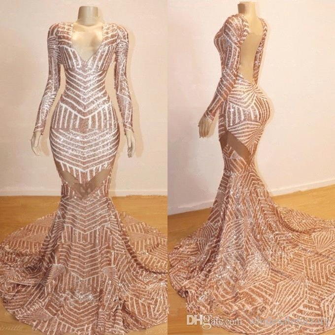2019 V Neck Long Sleeve Sequin Mermaid Long Prom Dresses Rose Gold Backless  Gorgeous Sweep Train Evening Pageant Gowns BC0841 2019 Prom Dress Long Prom  ... 4c3d4035d464