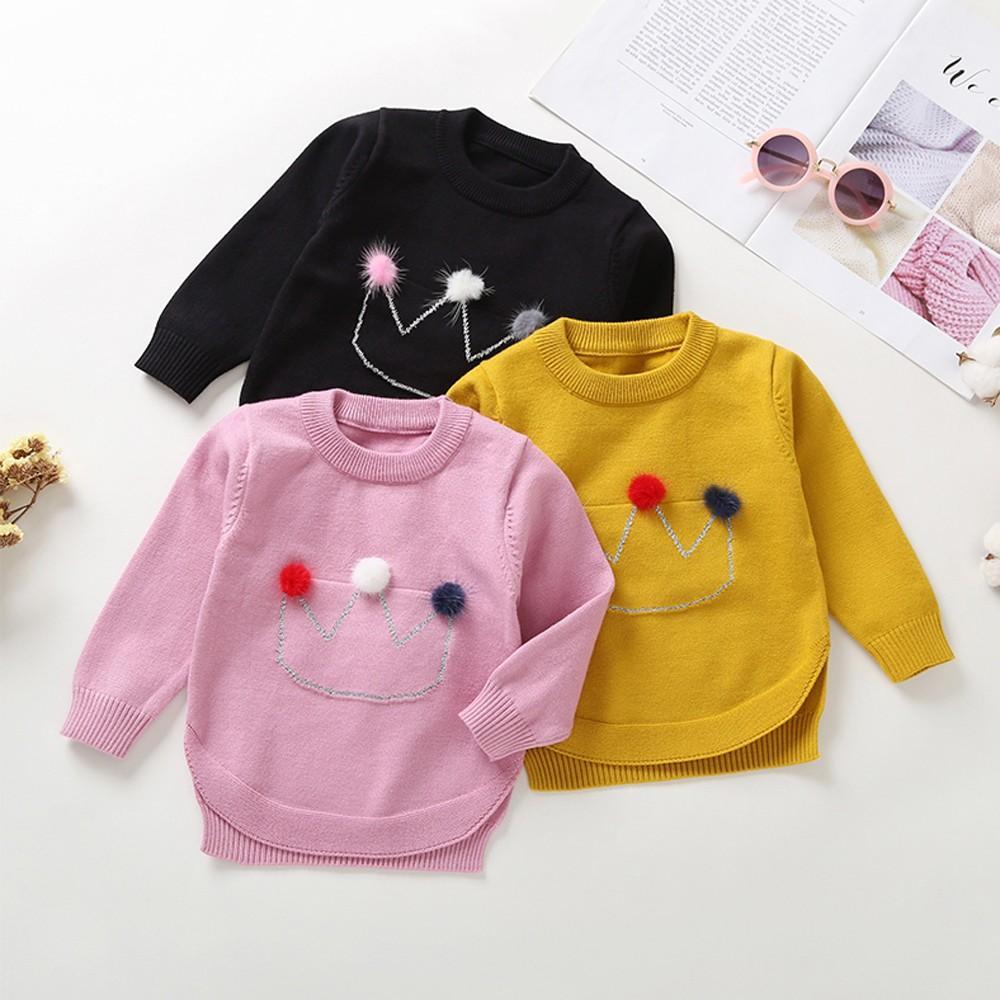 100% authentic 5bec6 6c7d0 Toddler Infant Neonati Vestiti per ragazze Corona per capelli con maniche  lunghe Maglia maglione Tops Tuta Inverno bambini # H4Z5