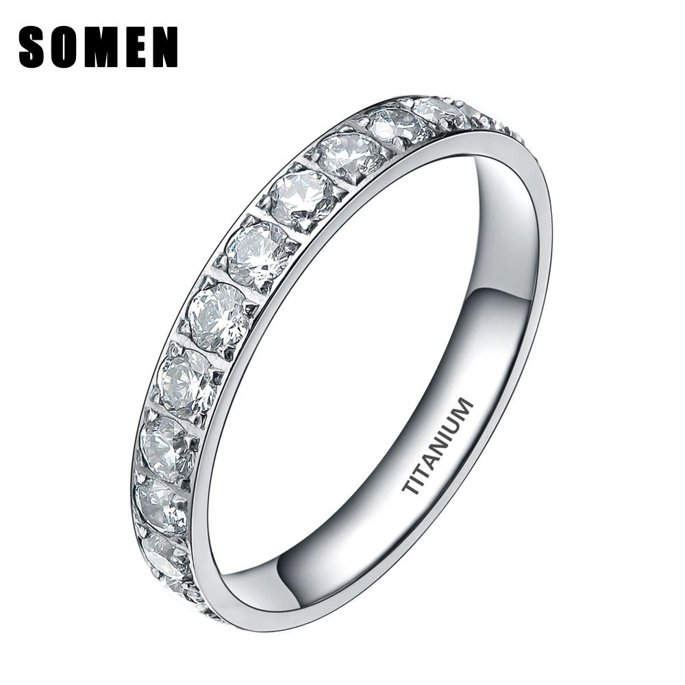 3mm Titanium Luxury Cubic Zirconia Women Wedding Ring Ladies Eternity  Engagement Rings Promise Jewelry Drop Shipping Bague Femme C19041601