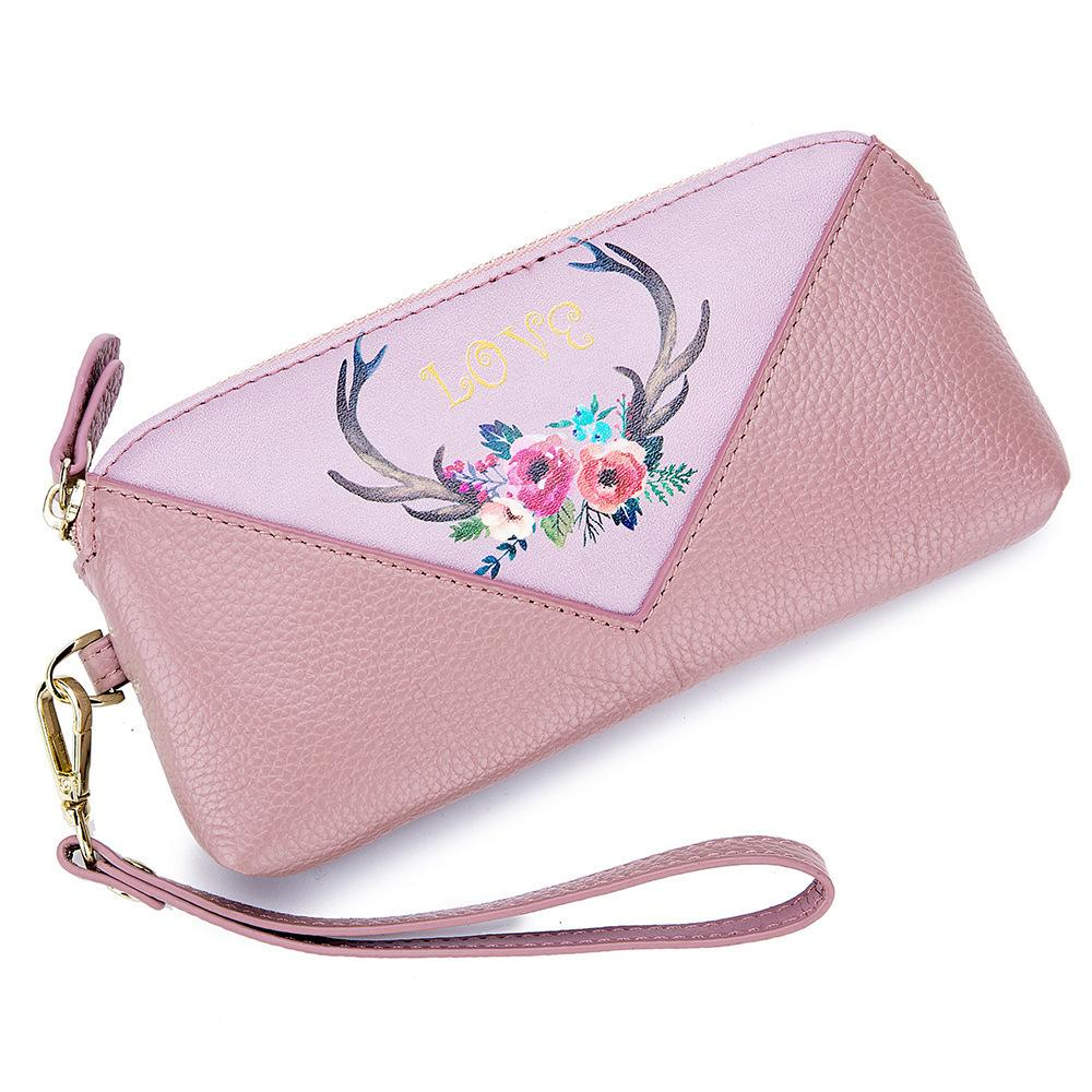 0bf17dbeb450 Women Clutch Bag Genuine Leather Wallet Long Famous Brand Printed ...