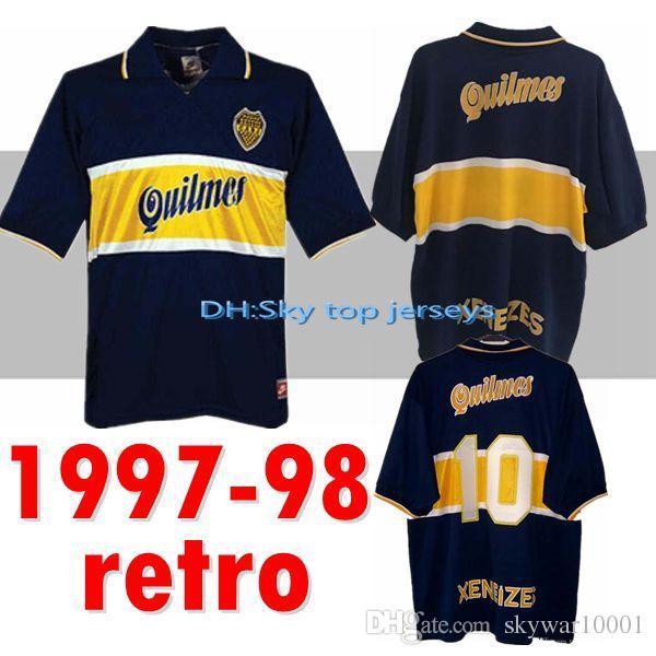 new product 4b868 d21b4 97 98 Boca Juniors Retro Soccer Jersey Maradona Vintage Caniggia 1997 1996  1998 MAGLIA Classic Football Shirts Maillot Camiseta de Futbol