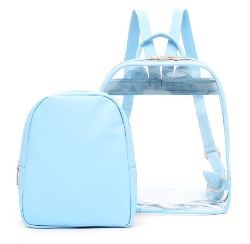 2019 New Два Бюстье PU прозрачный рюкзак девушки женщин Портативный большой емкости Zipper сумка для путешествий школы Покупки