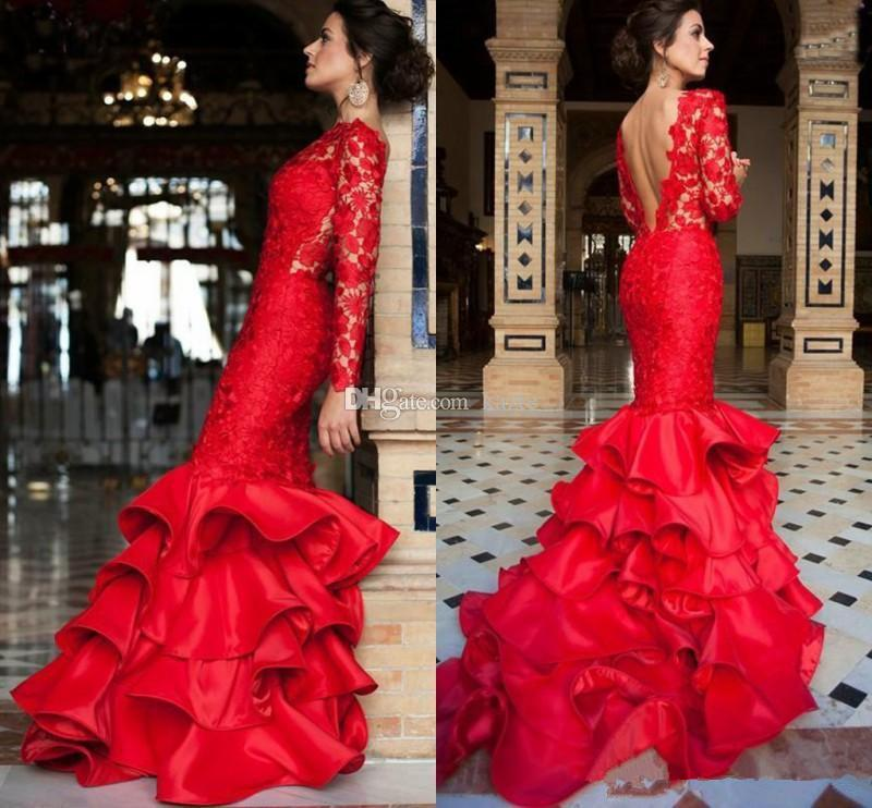 Chinese Red Mermaid Prom Dresses 2019 Full Lace Ruffles Tiered Skirt Train Jewel Neck Backless Mermaid Occasion Evening Dress Wear