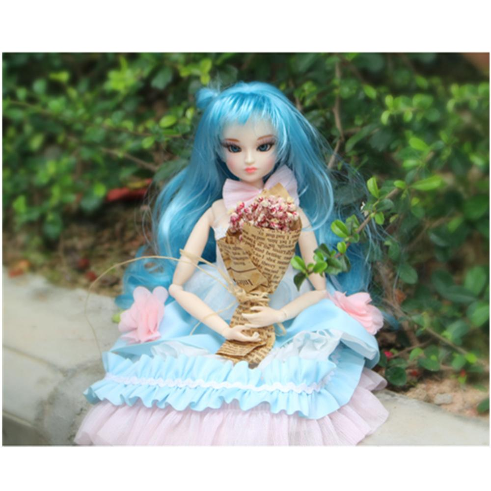 MM girl blyth doll bjd neo free shipping souvenir light blue long hair dress stocking stand and box, gift toy 1/6 30cm