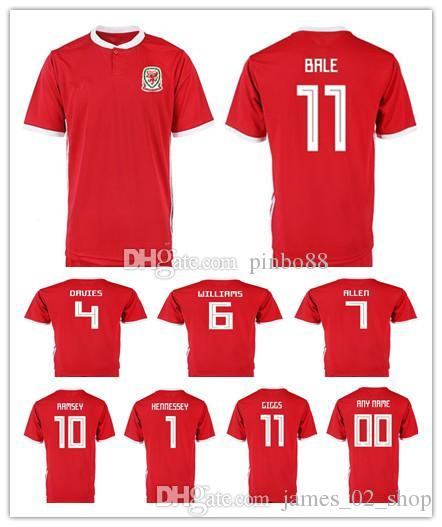 huge discount 7fbbc 73695 2019 Wales Soccer Jersey 10 AARON RAMSEY 11 GARETH BALE ALLEN TAYLOR WARD 9  ROBSON-KANU 6 WILLIAMS Home Red Customize Football Shirts