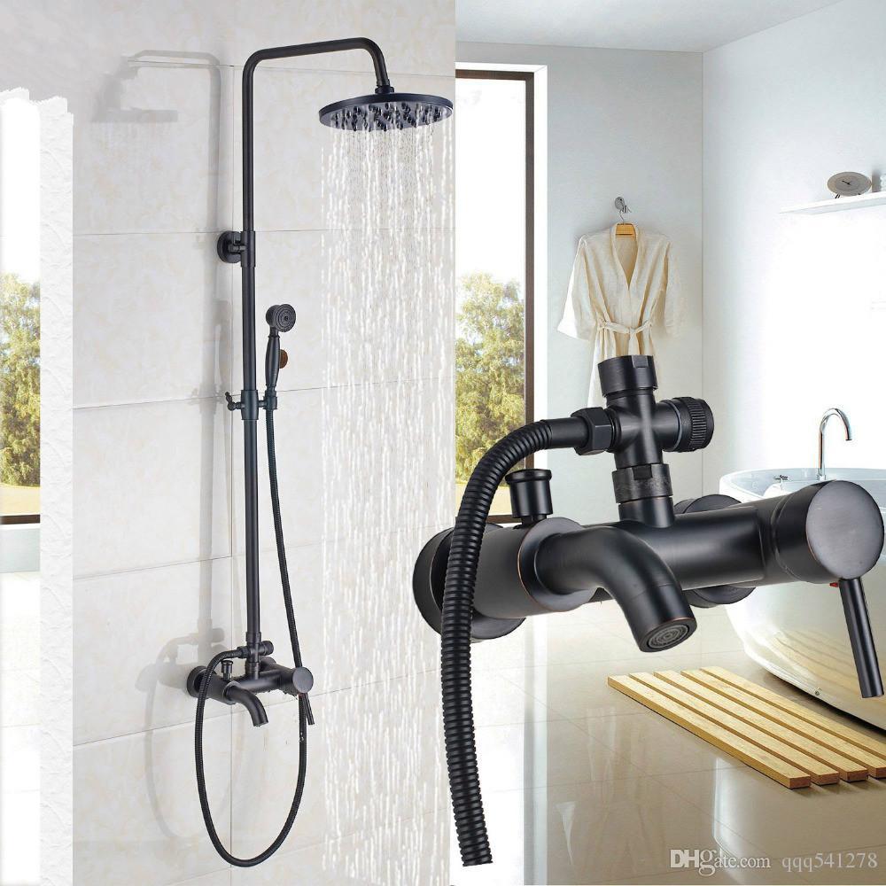 8/'/' Duschkopf Handbrause Duscharmatur Dusche Duschset Duschsystem Schwarz DHL
