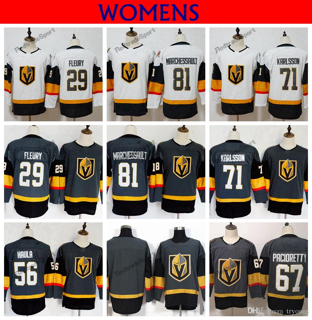 91a0d598a 2019 Womens Vegas Golden Knights 29 Marc Andre Fleury 81 Marchessault 71  William Karlsson 67 Max Pacioretty Haula Hockey Jerseys Stitched Shirt From  Tryones ...