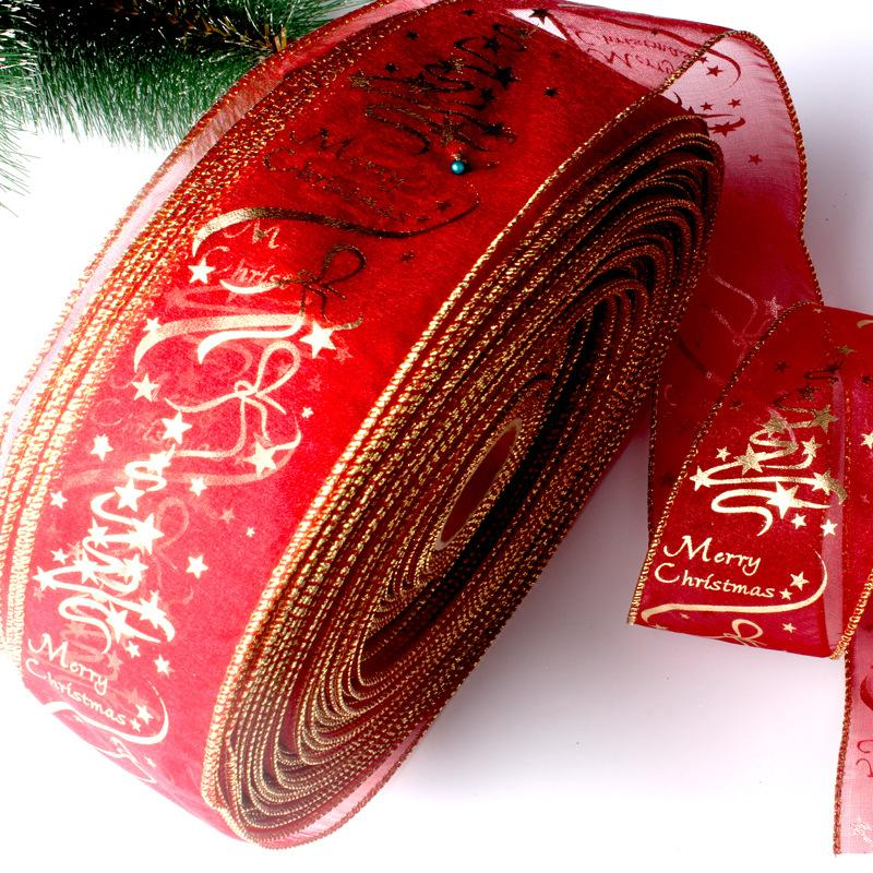 200CM Star Print Organza Ribbon For Wedding Christmas Party Decoration DIY Handcraft Cake Gift Wrapping Bow Christmas Ribbons DBC VT0746