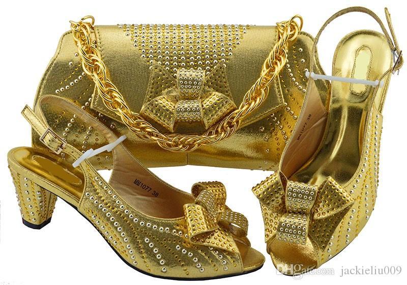 Hot Sale Gold Women Kitten Heel Shoes with Rhinestone Bowtie Style African  Shoes Match Handbag Set for Dress MM1077 Women Pumps African Shoes Match  Bag Set ... 825d66a64a92