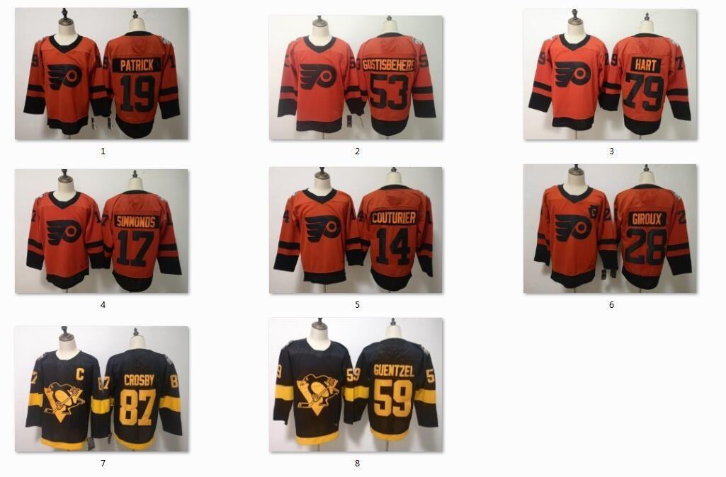 New Penguins Flyers Hockey Jerseys 87 Crosby 59 Guentzel 79 Hart 28 ... 4e1180dbe