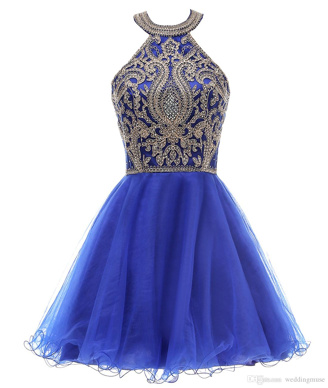 eb984d3aac7a44 Royal Blue Prom Dresses Halter Short Homecoming Sequins Beaded A Line Girls  Graduation Prom Cocktail Party Special Occasion Dresses Cute Homecoming  Dresses ...