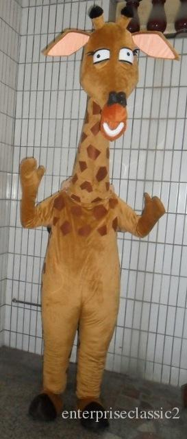 Cute Brown Giraffe Giraffa Camelopardalis Mascot Costume With Small Fat Antler Rhombus Pink Ears