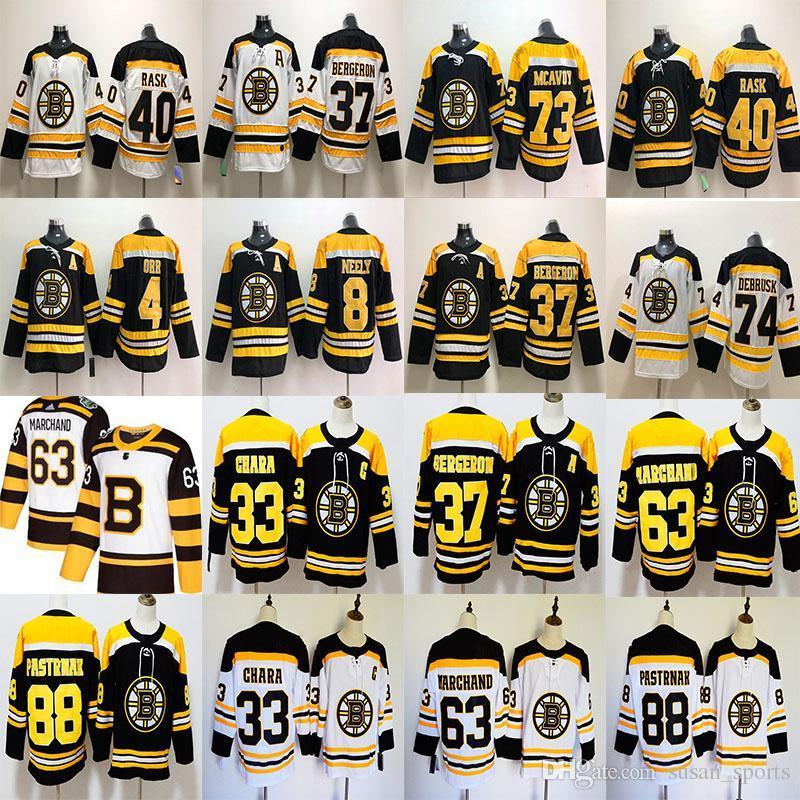 buy online 58c77 a9246 Boston Bruins 33 Zdeno Chara Jersey 37 Patrice 63 Brad Marchand 88 David  Pastrnak 4 Bobby Orr Hockey Jerseys