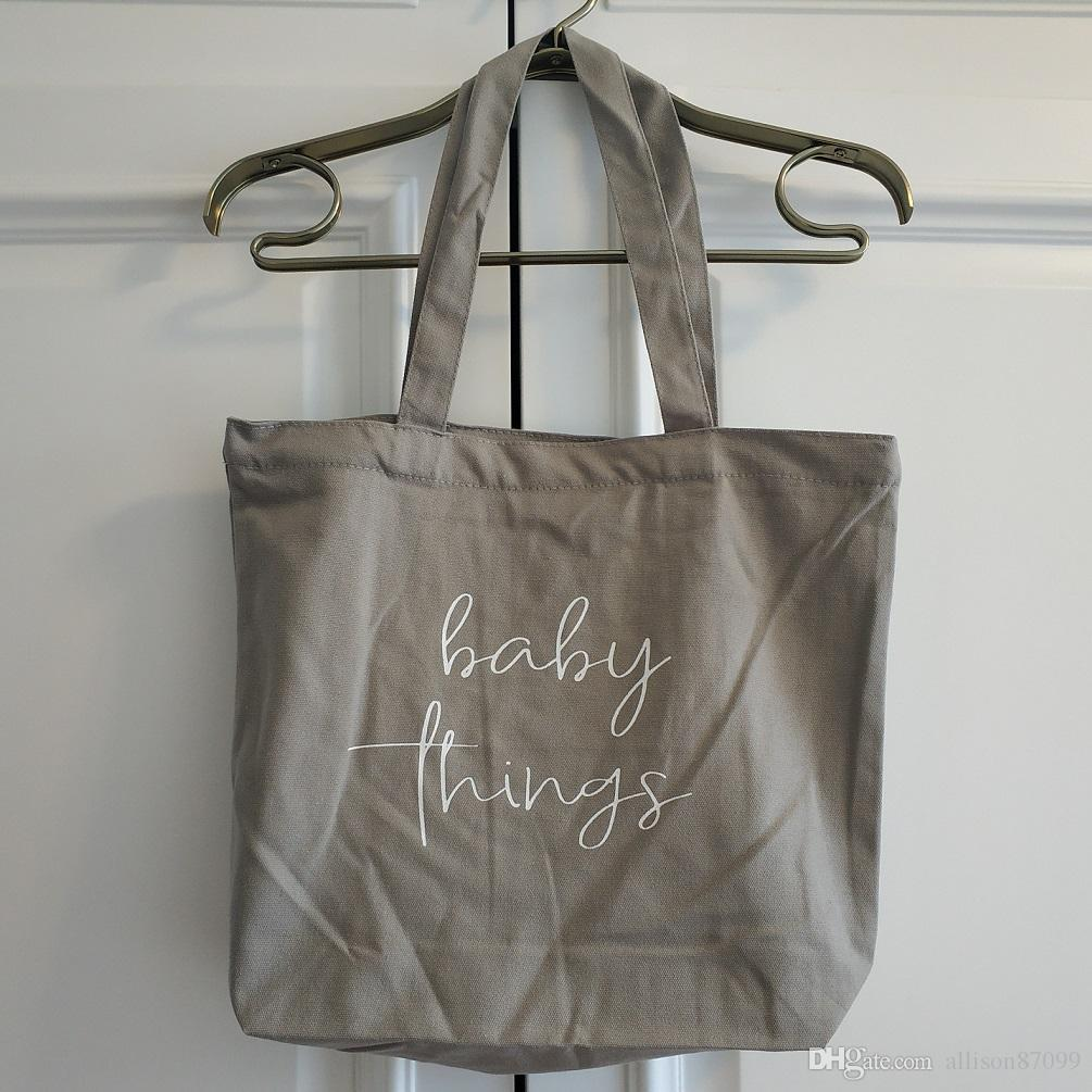 Maternity Mama bag 100% cotton Canvas Baby things Bags Handbag Letters Print Grey with zipper close Custom-made New arrival