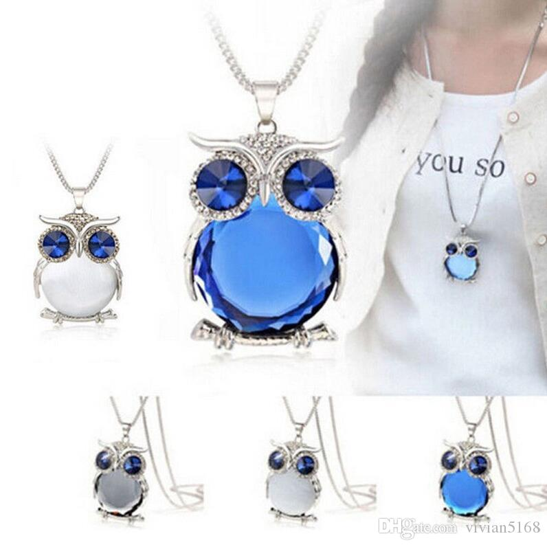 92b8bb037e1b Compre Joyas Colgantes Collares Moda Cristal Búho Suéter Cadena Adorno Largo  Vestidos De Novia Encantos Regalo Para Las Mujeres es Envío Gratis A  19.1  Del ...