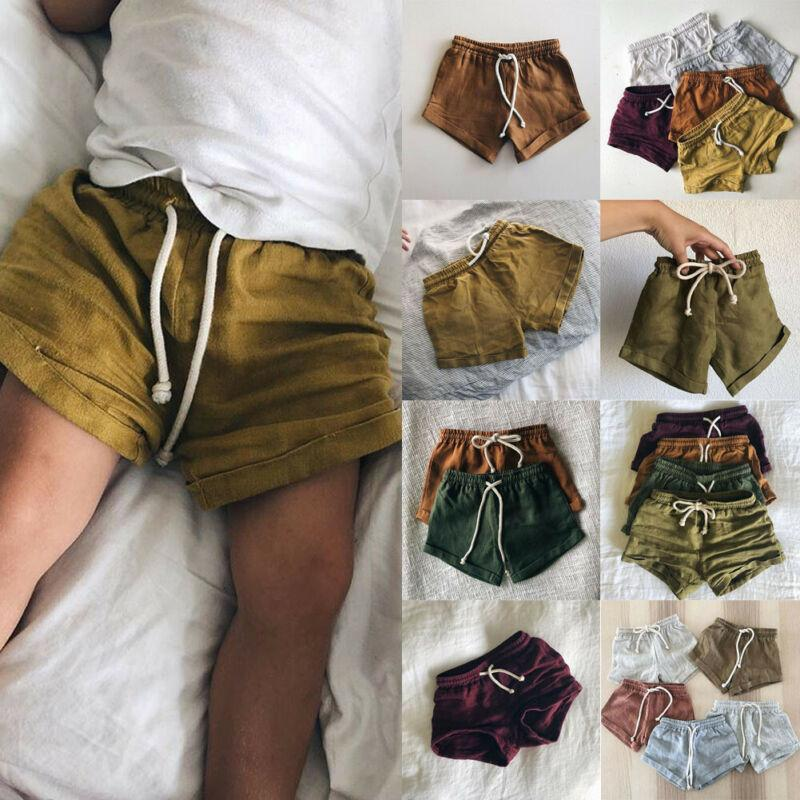 Newborn Baby Summer Shorts Toddler Kids Cotton Linen Harem Lace Up Linen Short Infant Boys Girls Comfortable Breathable For 0-3T