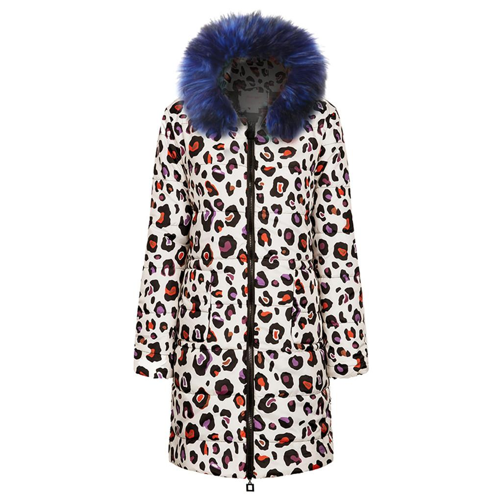 Leopard Print Winter Down Jacket Women Long Coat Warm Clothes Puffer Jacket Winter Coat Women Abrigos Mujer Invierno#J30