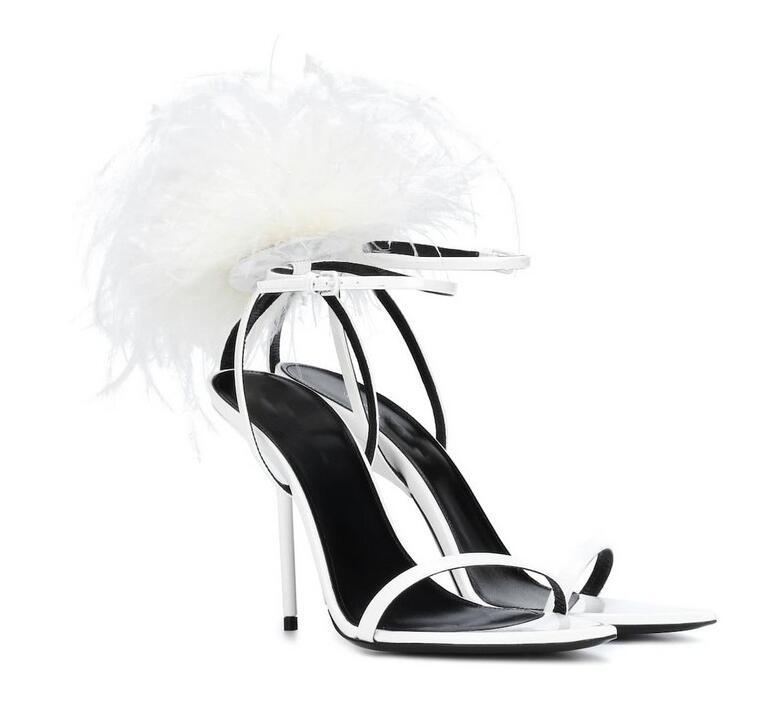 Hot Sale-Sexy Shoes Women White Feather Sandals Ankle Strap Thin Heels Soft Furry Sandals Open Toe Stilettos Party Dress Shoes Women
