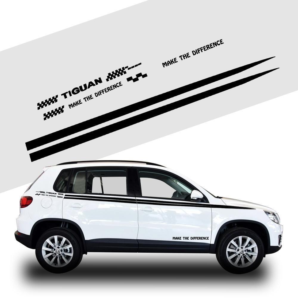 Volkswagen Blanc La Carrosserie De Noir Accessoires Décoration Pour Vw Côté Tiguan Autocollant Ou Voiture v80wmONn