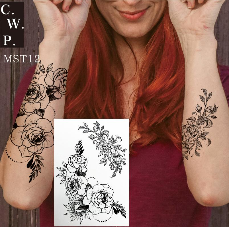 Mst12 1 Pieza Tatuajes Temporales Flores Vintage Tinta Negra Ramos