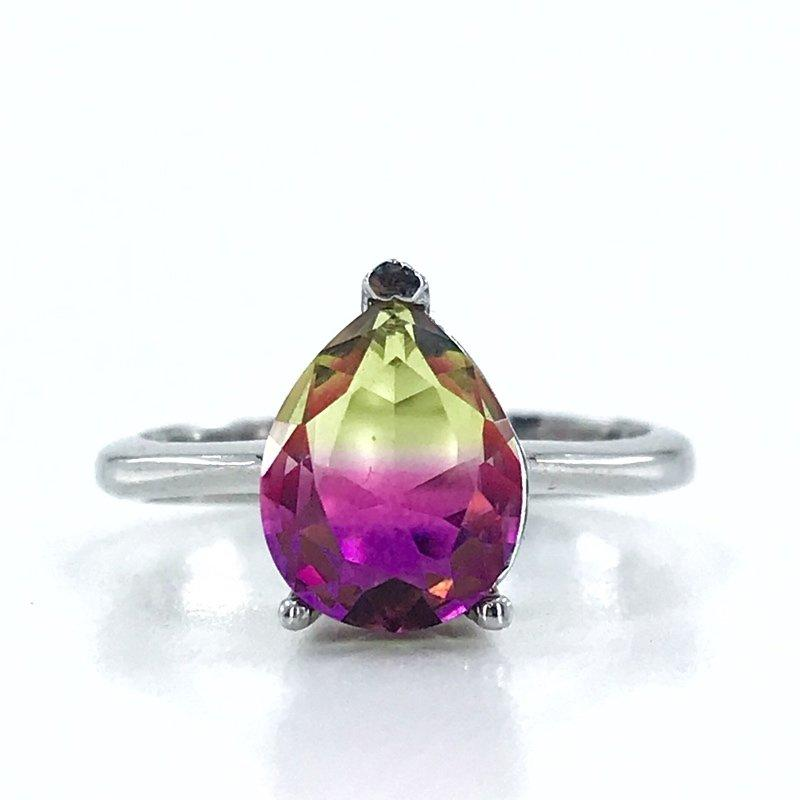 Small Drop Alexandrite Gemstone Silver Ring