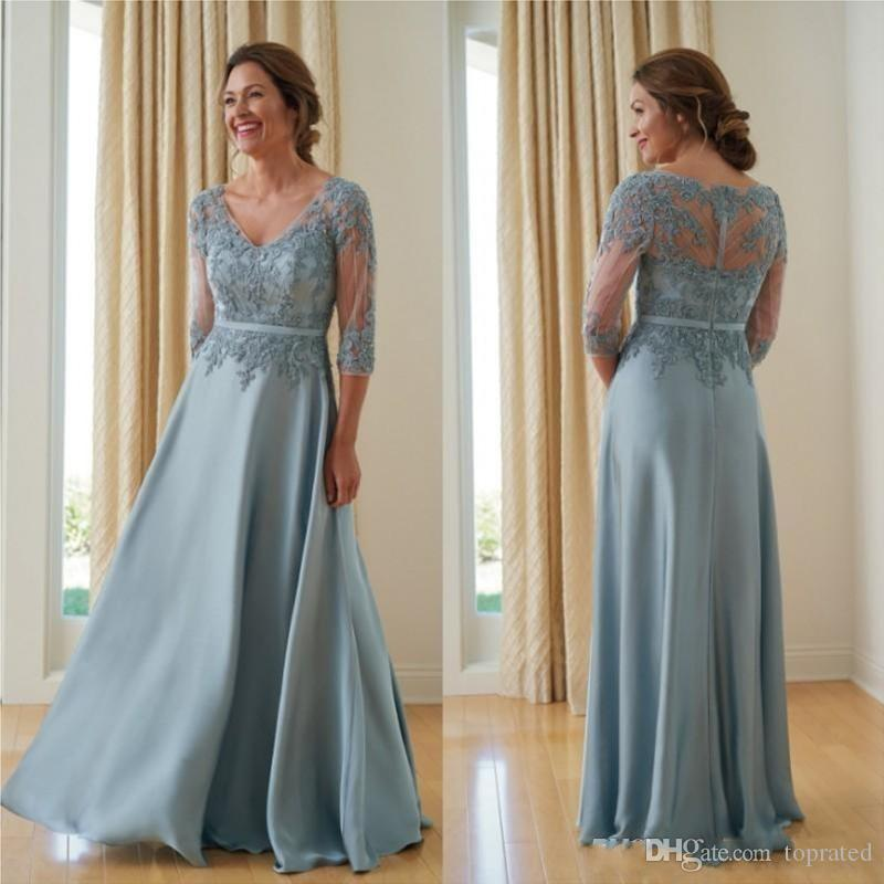 2019 Plus Size A Line Mother Of The Bride Dresses 3/4