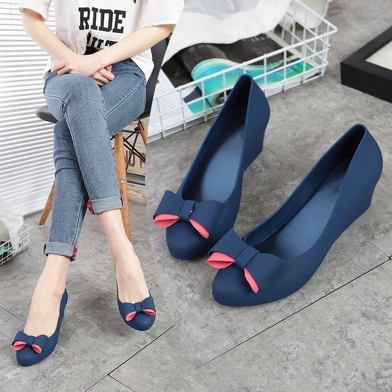 dca748eb30a Eoeodoit 2019 Autumn Wedges Pumps Women Rain Shoes Med Heel Height  Increasing Jelly Shoes With Bow Slip On Daily Beach Shoes Walking Shoes  Flat Shoes From ...