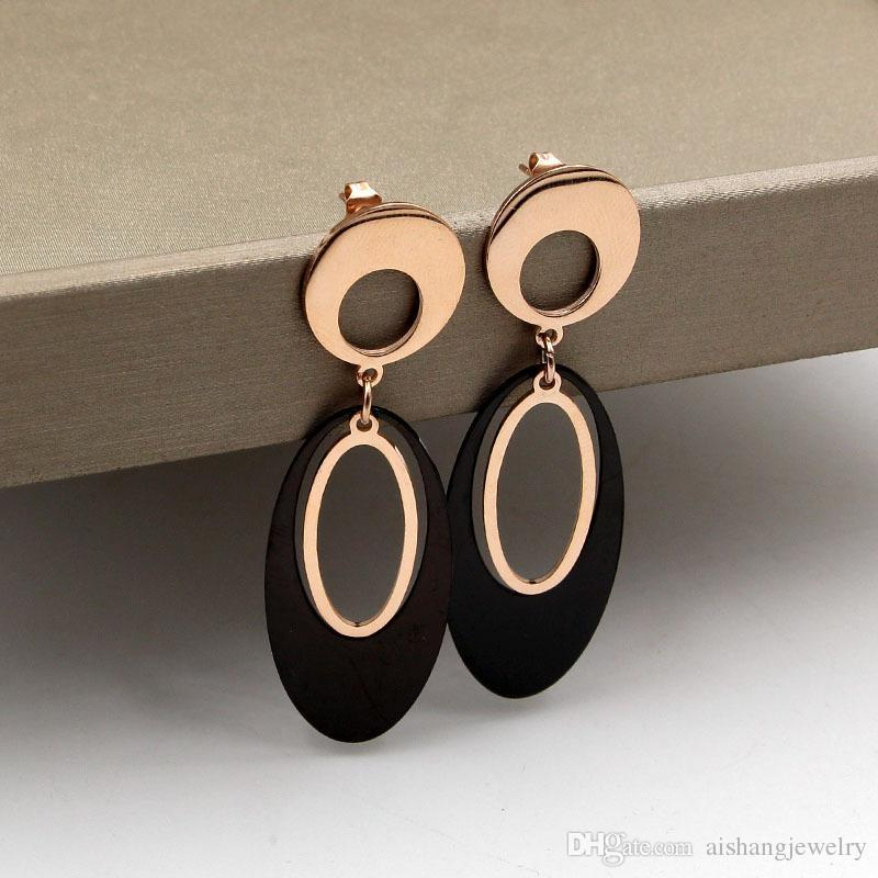 4c3779790 E7 2018 New Fashion Ellipse Black Style All-match Rose Earrings Gold ...