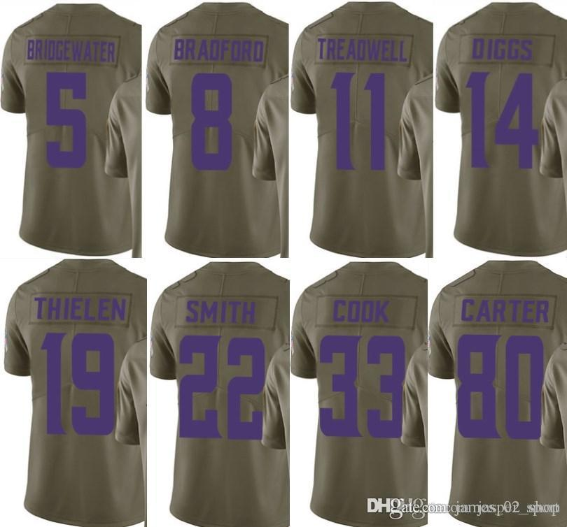 sports shoes 26d39 16571 2017 Olive Salute To Service 5 Bridgewater 14 Stefon Diggs 33 Dalvin Cook  19 Adam Thielen 22 Harrison Smith 55 Anthony Barr limited Jerseys