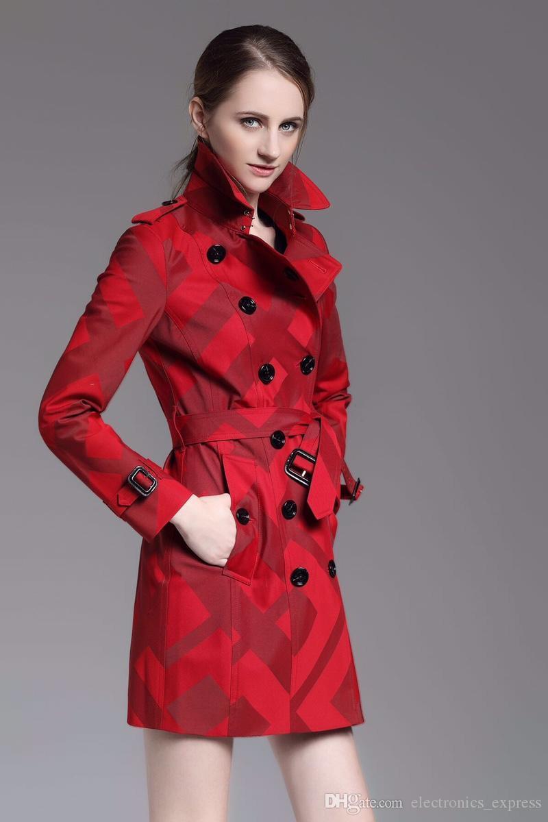 Fabrika 2019 Kadınlar Ekose Trençkot Uzun Kollu Sonbahar İngiltere Kuşaklı Brit Uzun ceketler WINDBREAKER Şık Dış Giyim Londra Hendek