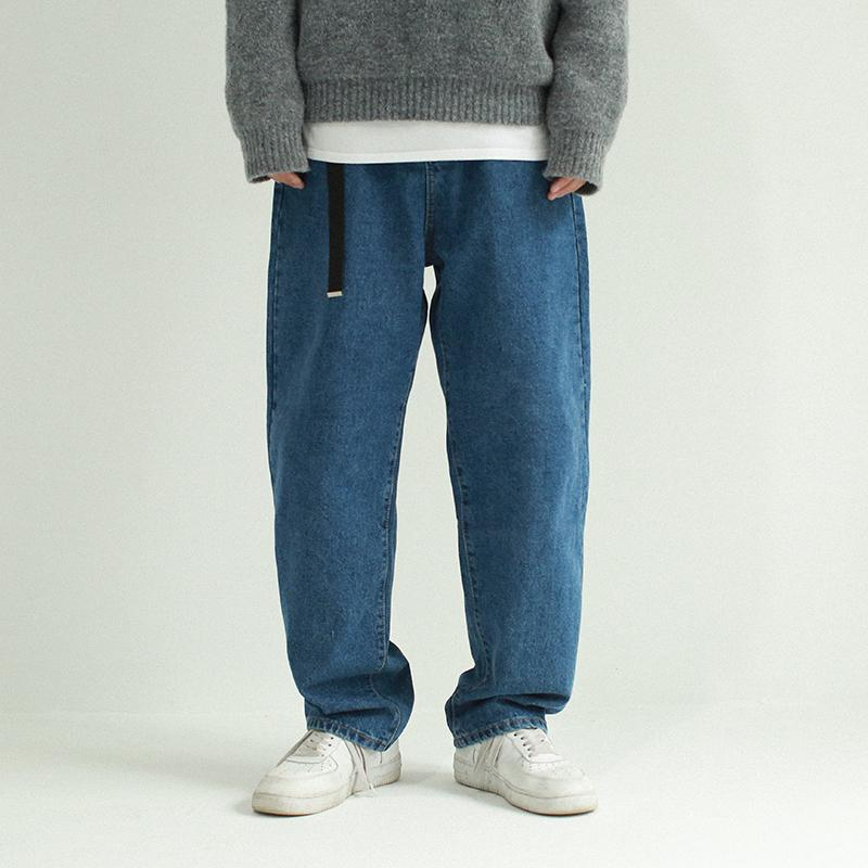 bddc54eb931 2019 2019 Spring New 90s Wind Large Size Japanese Straight Pants Solid  Color Casual Loose Jeans Men And Women Can Wear Blue S XL From Odelettu