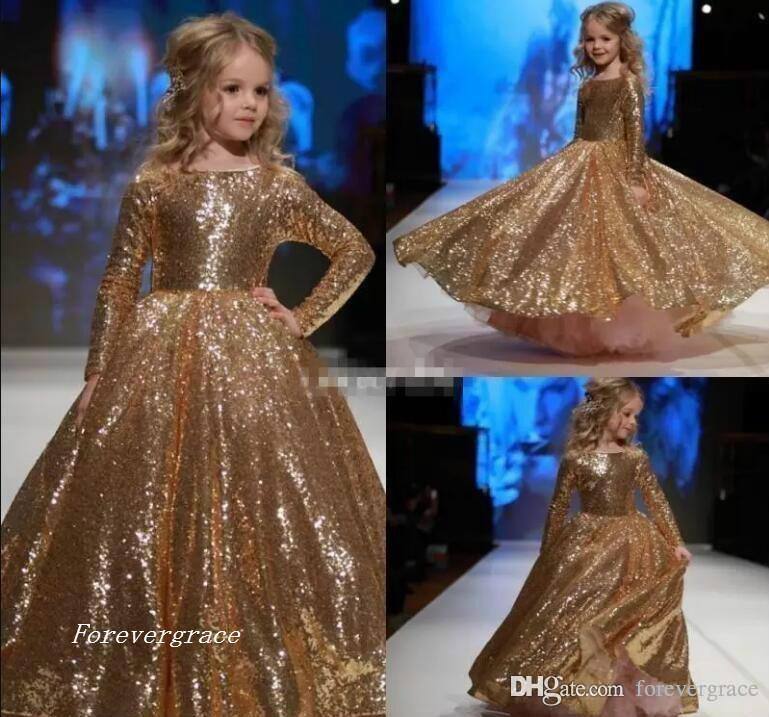 2019 Chic Sparkly Gold Sequined Little Princess Long Sleeves Girl's Pageant Dress Vintage Party Flower Girl Pretty Dress For Little Kid