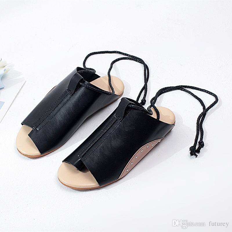 b46b0e24e Compre 2019 Nuevas Sandalias Planas Mujer Verano Pescado Boca Hebilla  Zapatos Romanos Color Sólido Tacón Bajo Sandalias De Mujer K0031 A  13.06  Del Futurey ...