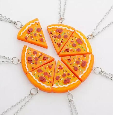 e413702a0981 Rebanadas de pizza de acrílico Collar Mejores Amigos BBF Joyería de la  amistad Conjunto Collar Colgante Declaración Collares de cadena larga ...
