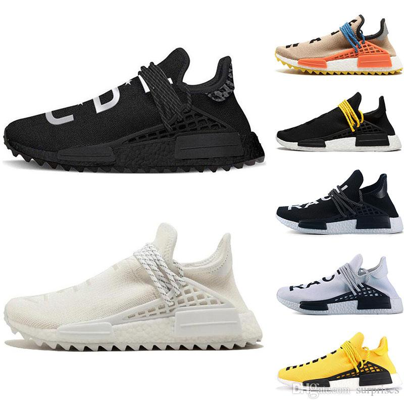 35ba6b5ede467 New Designer Human Race Hu Trail Pharrell Williams Running Shoes Nerd Black  Cream Holi Trainers Mens Women Sports Runner Sneaker Size 36 47 Good Running  ...