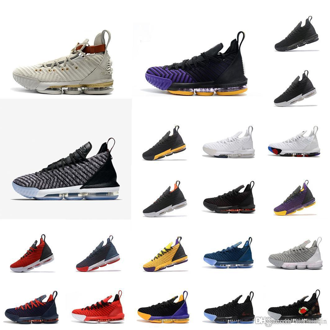 new arrival 9d100 574e5 New lebron 16 womens basketball shoes for sale Promise White Oreo Bred  Purple Gold Black Red Boys Girls Youth Kids sneakers boots with box
