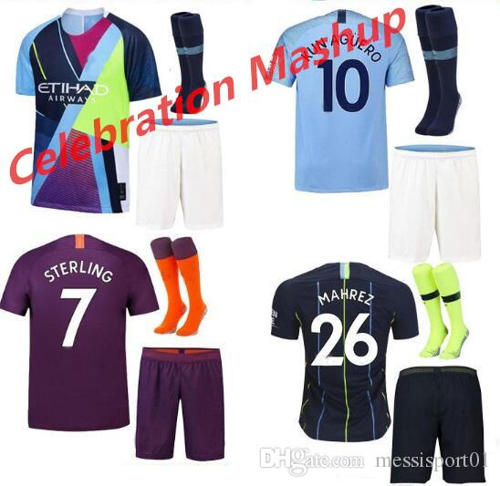 7eb3841b5 2019 Manchester Soccer Jerseys 2018 2019 Celebration Mashup Adult Kit KUN  AGUERO KOMPANY DE BRUYNE City Home Away Shirt Full Kit With Socks From ...